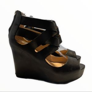 Dolce Vita Jude Wedge Black Leather Upper Open Toe Strappy